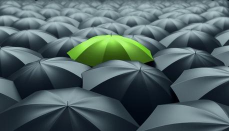 Many umbrellas. One green